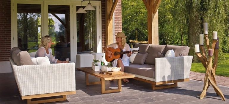 woman relaxing with guitar
